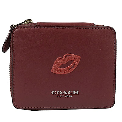 COACH 燙印LOGO趣味圖樣牛皮飾品盒(紅/唇印)