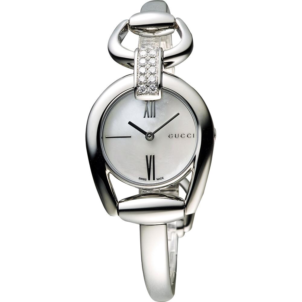 GUCCI Horsebit 唯美羅馬真鑽手鐲腕錶-珍珠貝/27mm