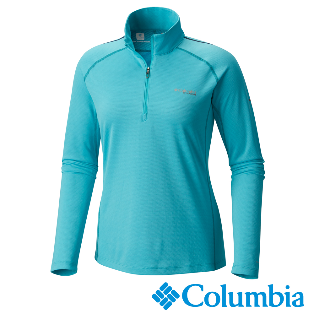 Columbia 哥倫比亞 女-鈦防曬15涼感快排立領上衣藍色 UAR19810AQ