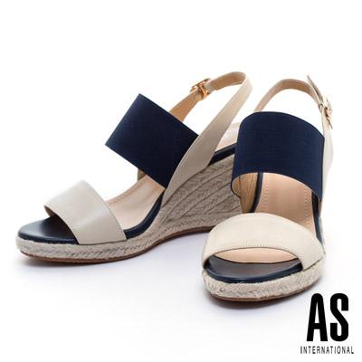 AS-寬版彈力繫帶造型草編楔型高跟涼鞋-米