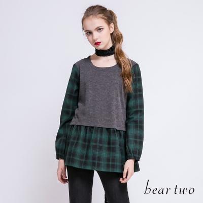 beartwo 輕甜拼接格紋波浪下擺造型上衣(二色)-動態show