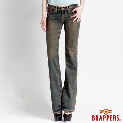 BRAPPERS 女款 女垮褲系列-女用小喇叭褲-復古藍