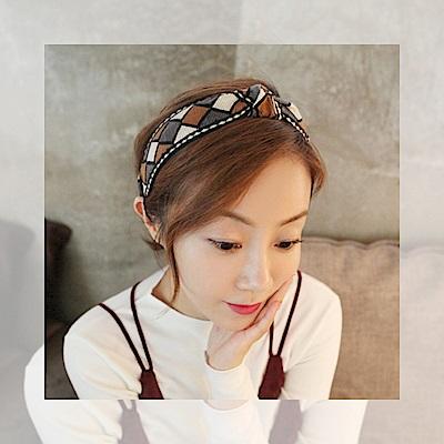 梨花HaNA 韓國小獨特菱感時尚印花刺繡髮箍