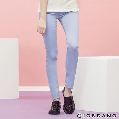 GIORDANO-女裝中腰輕磨毛修身窄腳褲-63淡紫藍