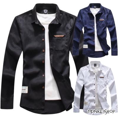 小猴子的賣場 時尚百搭款優質滑布面料素面長袖襯衫-2色