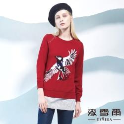 麥雪爾 小鳥圖騰針織羊毛衣-紅