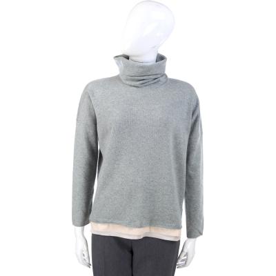 FABIANA FILIPPI 灰綠色下襬拼接設計高領羊毛上衣(75%LANA)