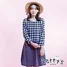 betty's貝蒂思 格紋拼接棉麻長袖洋裝(格紋深藍)