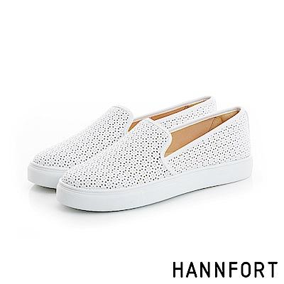 HANNFORT CAMPUS微雷雕沖孔厚底休閒鞋-女-簡約白