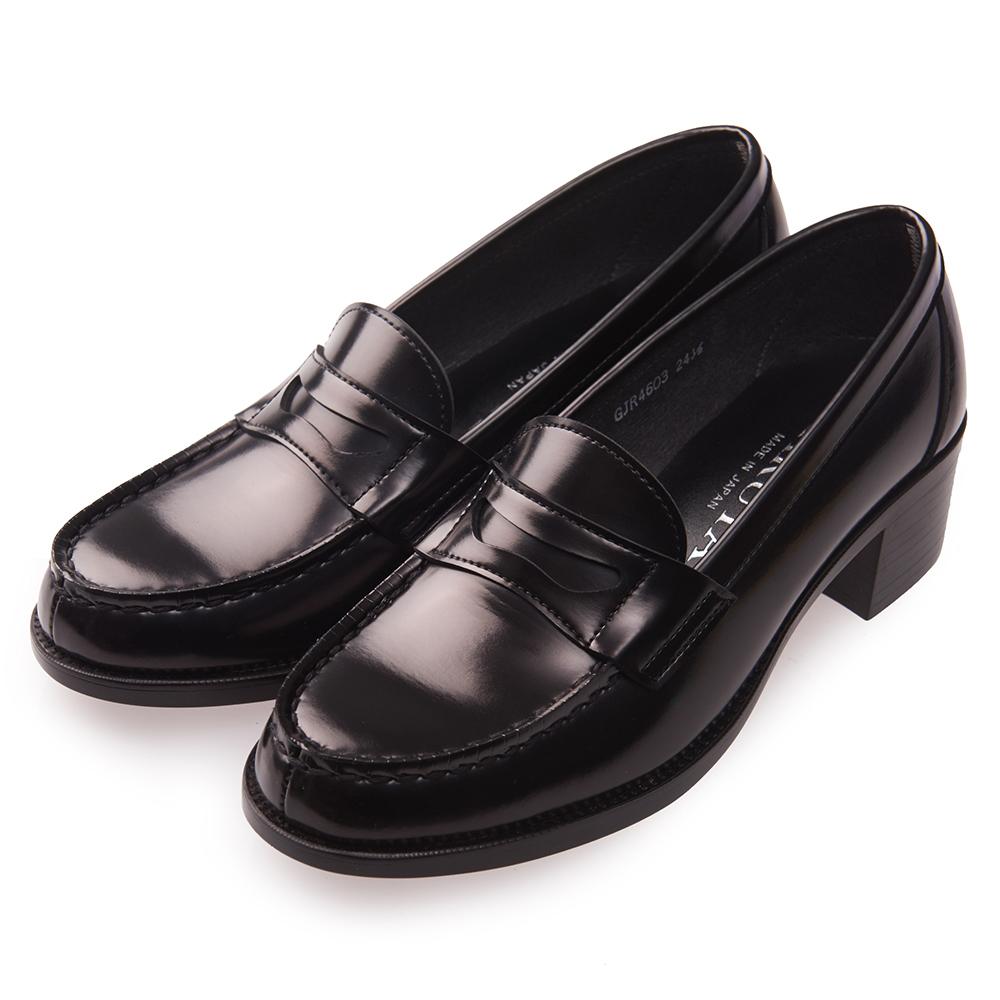 (女)日本 HARUTA 經典4603粗跟學生鞋-黑色