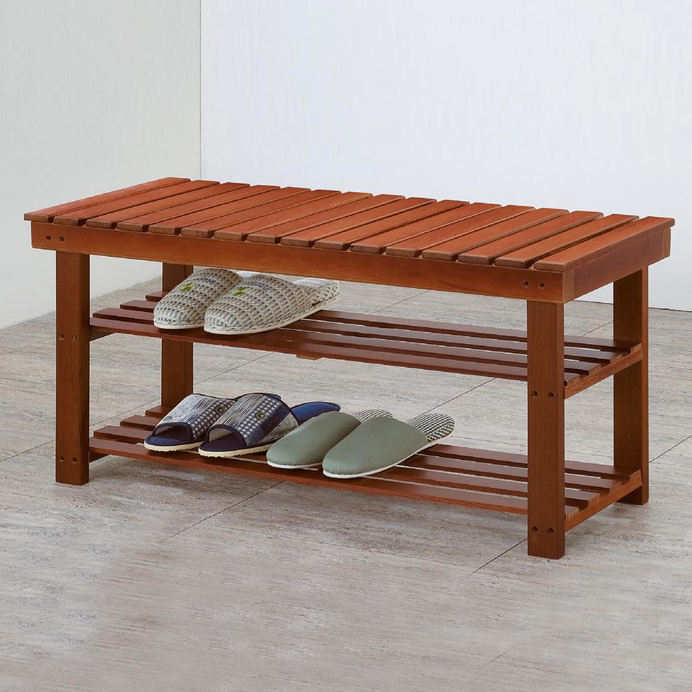 Bernice-德溫2.6尺實木二層鞋架/穿鞋椅-90x30x43cm