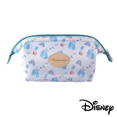 Disney迪士尼緞面滿版碎花大開口立體化妝包/萬用包-仙杜瑞拉