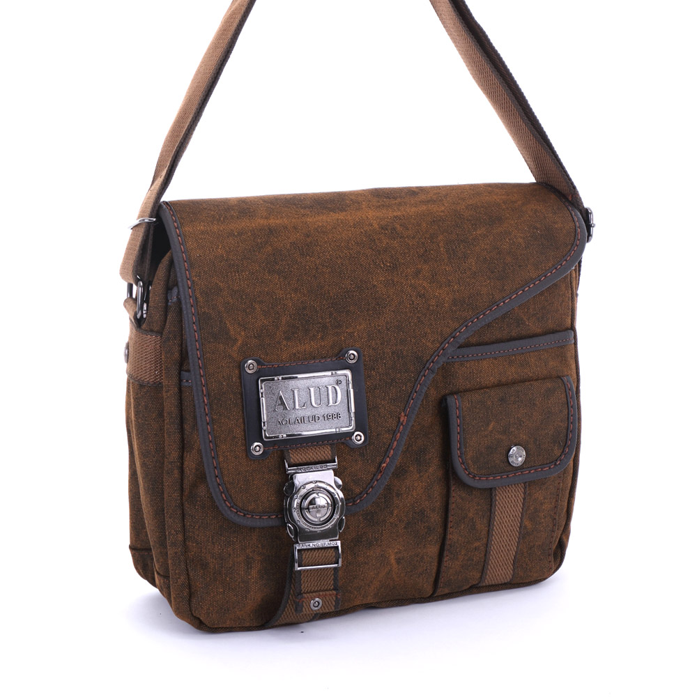 DF BAGSCHOOL - 復古仿舊風高磅帆布斜口造型側背包