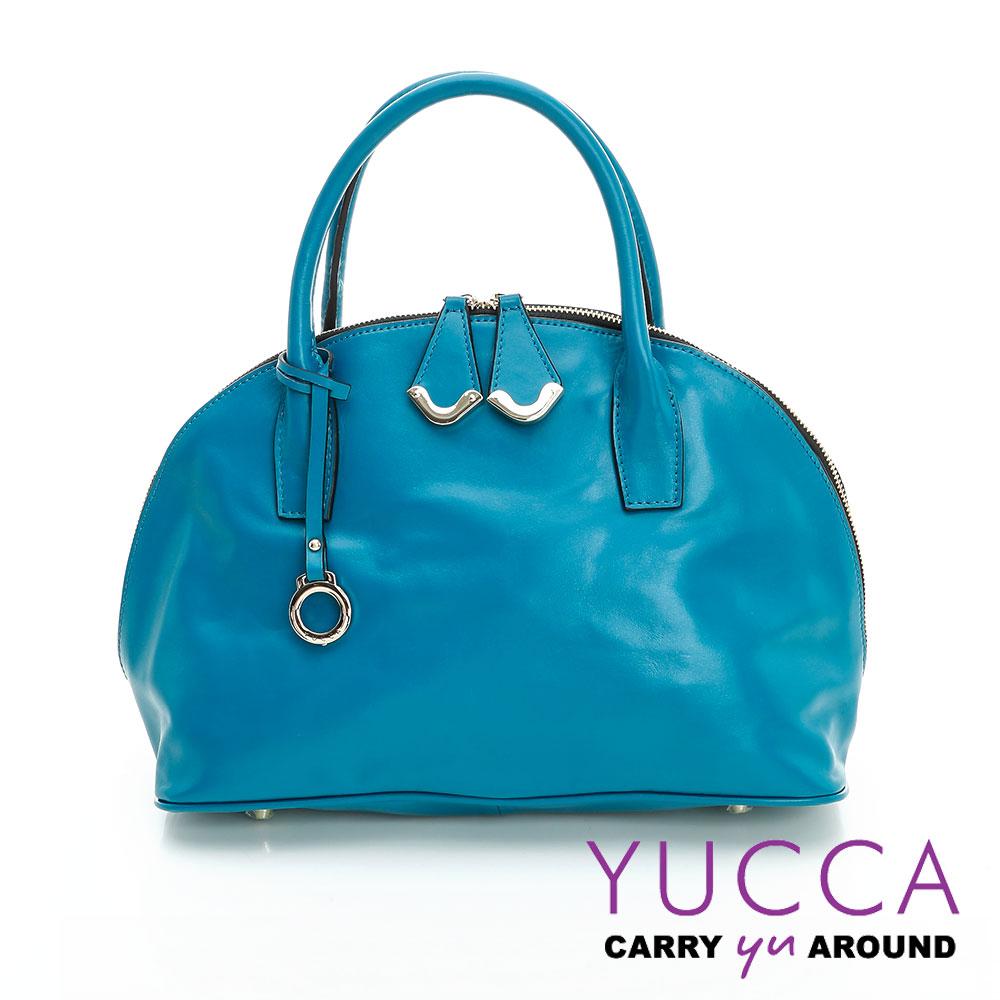 YUCCA摩登牛皮貝殼手提側肩背包-藍色-D0090045C60