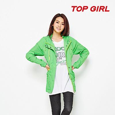 TOP GIRL 抗UV連帽長版風衣外套-亮綠