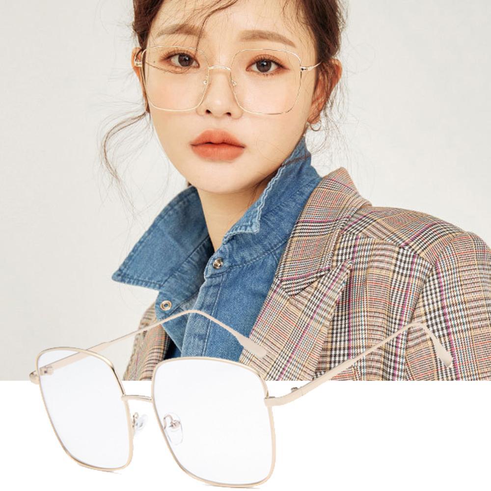BeLiz 韓版大方框 細框金屬平光眼鏡 金