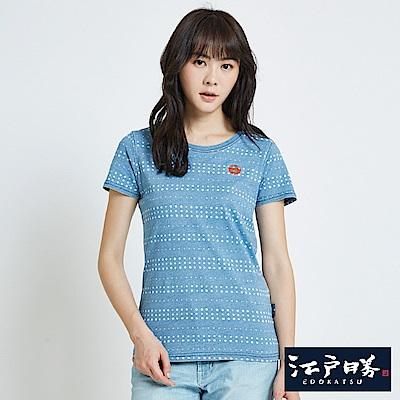 EDWIN EDO KATSU 江戶勝INDIGO點點T恤-女-淡藍