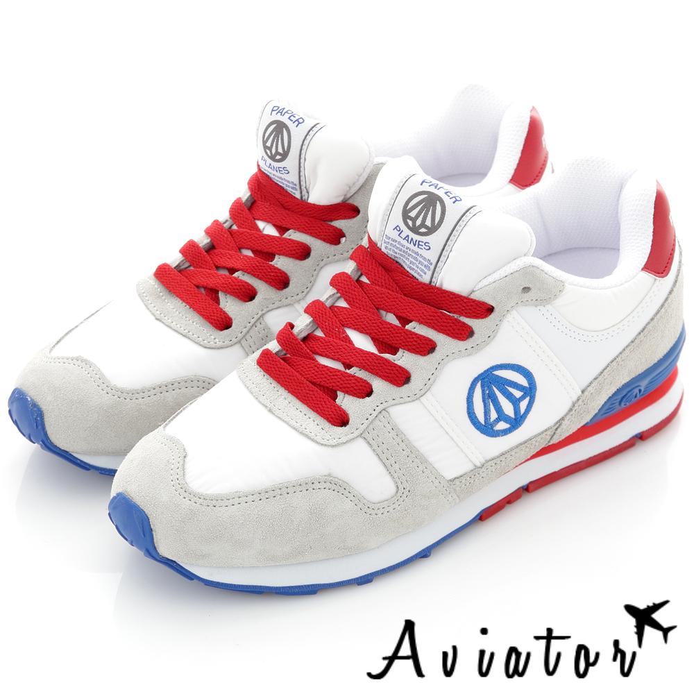 Aviator*韓國品牌-真皮內增高撞色運動鞋-白