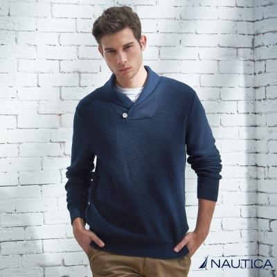 Nautica 簡約造型領針織衫-藍