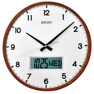 SEIKO 精工 時鍾 木質外殼 恆動式秒針雙顯 靜音掛鐘-白/33cm