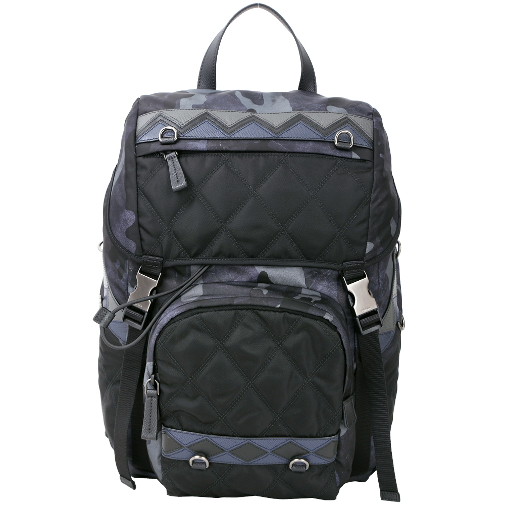PRADA Saffiano 菱格絎縫拼接迷彩尼龍後背包(黑藍色)PRADA