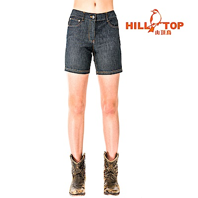 【hilltop山頂鳥】女款吸濕排汗彈性牛仔短褲S09F63-黑
