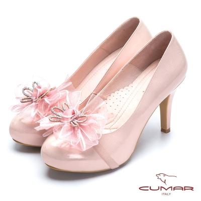 CUMAR新娘禮鞋 緞帶蝴蝶結高跟美鞋-粉紅