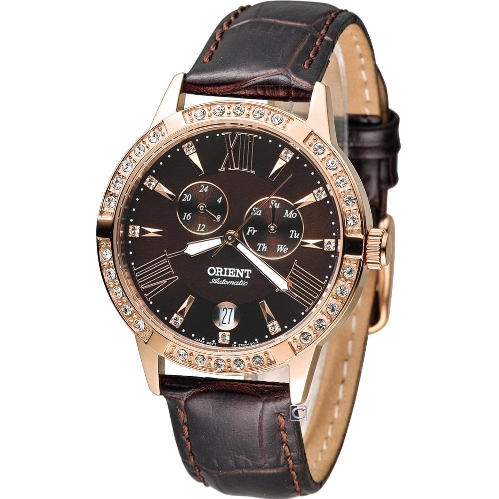 ORIENT Elegant 璀璨時光機械錶-巧克力色/37mm