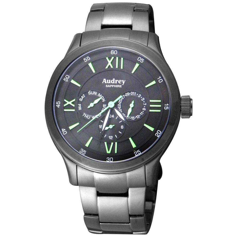 Audrey 歐德利 躍動繽紛 三眼時尚腕錶(AUGM2590)-黑x綠指針/44mm