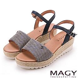 MAGY 時尚穿搭必備款 特殊布料+牛皮麻編楔型涼鞋-藍色