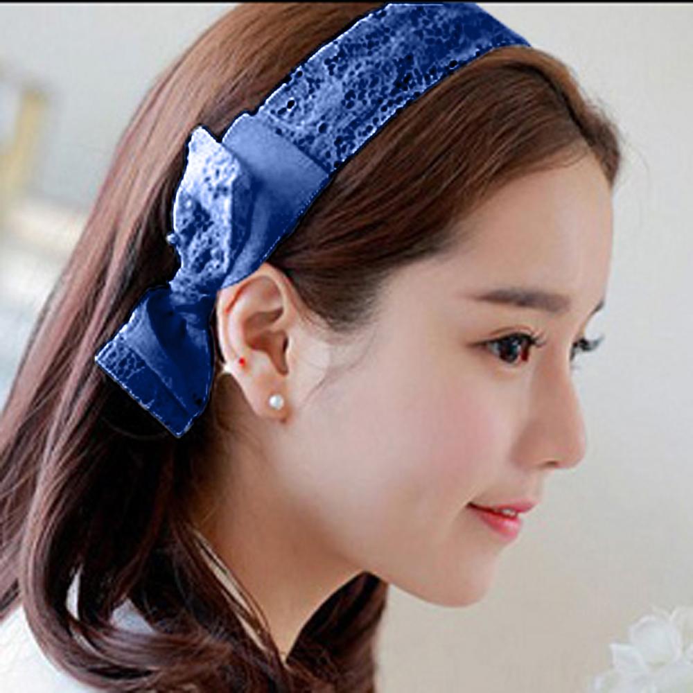 Aimee Toff 夢幻公主蕾絲蝴蝶結髮圈(藍)