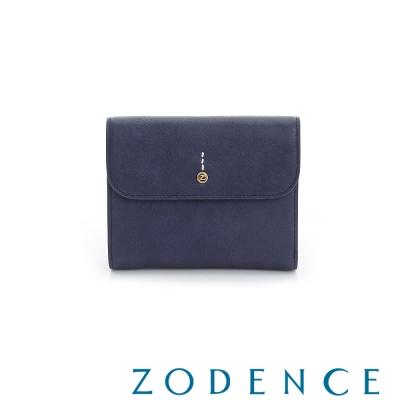 ZODENCE 義大利質鞣革系列迷你LOGO設計多卡層短夾 藍