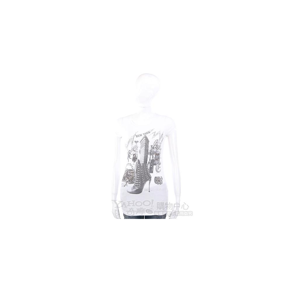 YES LONDON 米白色紐約印象短袖T恤