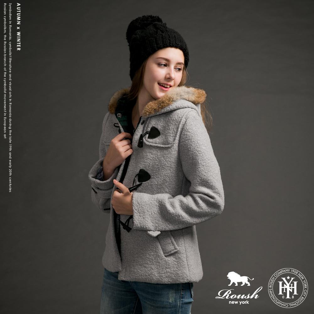 ROUSH 女生毛帽設計牛角釦毛料大衣 (4色)