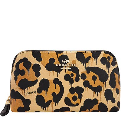 COACH-咖啡色豹紋PVC化妝包