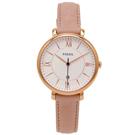 FOSSIL  粉紅優雅風的皮革女性手錶(ES3988)-白面/35mm