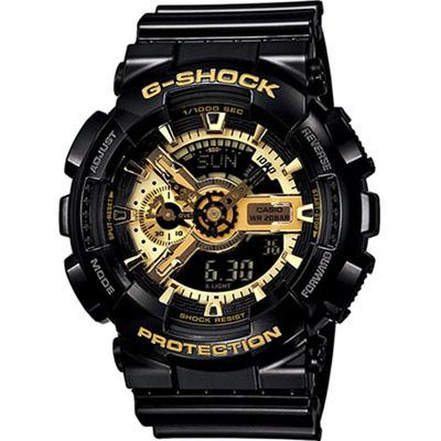G-SHOCK 重機裝備 雙顯運動錶(GA-110GB-1A)-黑x金/51.2mm