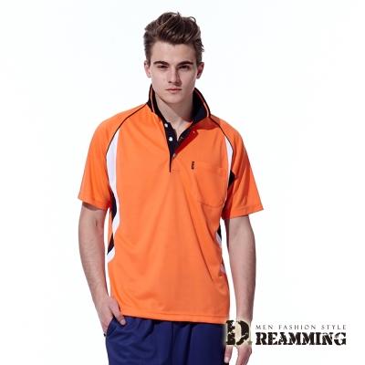 Dreamming 雙色拼接涼爽吸濕排汗短袖POLO衫-橘色