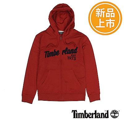Timberland 男款紅色拉鍊連帽運動衫