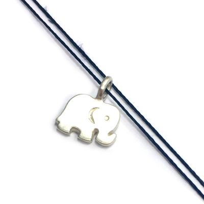 Dogeared 大象 ELEPHANT 好運健康 銀墜黑色棉繩 許願項鍊