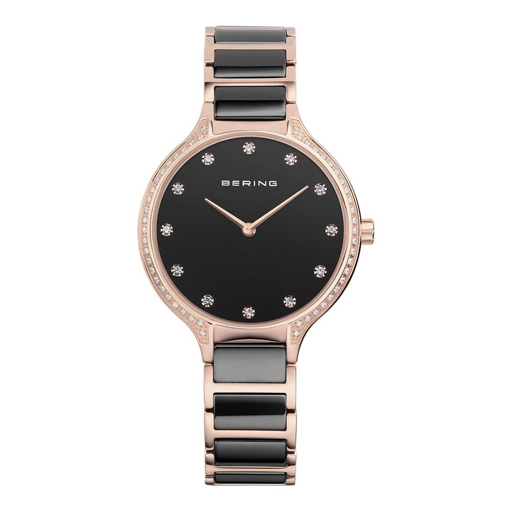 BERING丹麥精品手錶 閃耀晶鑽陶瓷系列 藍寶石鏡面 玫瑰金x黑 34mm