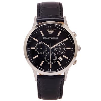 ARMANI 品味設計款三眼計時男性手錶(AR2447)-黑面x黑/43mm