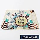 棉花田 可愛動物 法蘭絨防滑踏墊-米兔花園(二件組)