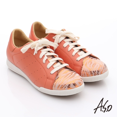 A.S.O 輕量抗震 柔軟金箔真皮綁帶奈米休閒鞋 橘