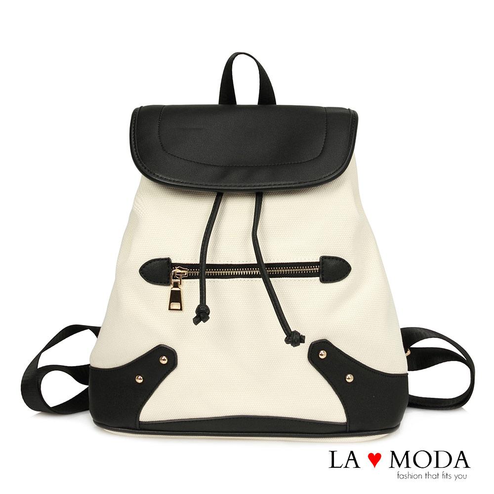 La Moda 百搭經典復古拼接帆布大容量後背包(白)