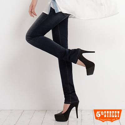 5th-STREET-簡約加分-伸縮仕女中高腰小直筒褲-女款-酵洗藍