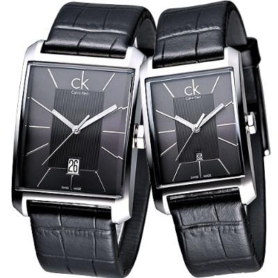cK Window 櫥窗系列對錶(K2M21107.K2M23107)-黑/38+25mm