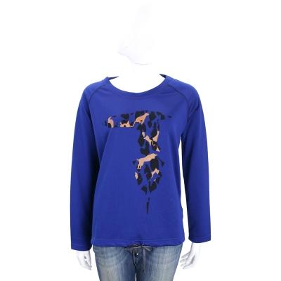 TRUSSARDI 藍色拼圖LOGO抽繩設計棉質長袖T恤