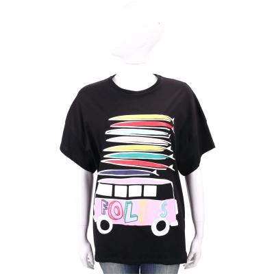 BLUGIRL-FOLIES 黑彩條紋字母巴士寬袖棉質T恤