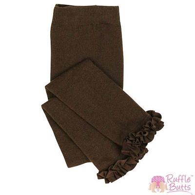 RuffleButts 小女童甜美公主荷葉邊內搭褲-巧克力色